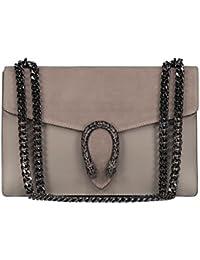 6e033caea8b0b  MYITALIANBAG RONDA Umhängetasche Handtasche mit Kette und Schließen von  Zubehör metallischen dunklem Nickel