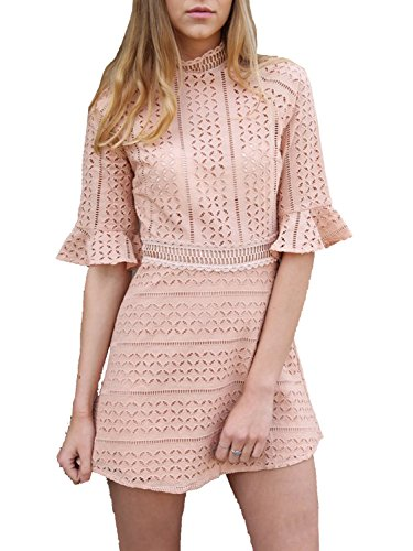(Missy Chilli Damen Kleid Kurz Sommer Elegant Langarm O Ausschnitt Baumwolle Spitze Mini Kleid Knielangkleid Dress Rosa, Gr.-36/ Medium)