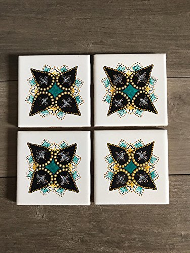 Juego de posavasos, diseño de mandala, azulejos pintados a mano, regalo para mamá, regalo para abuela, cristal pintado, regalo para profesor, regalo para secretaria