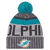 "Miami Dolphins New Era 2017 NFL ""Sport Knit"" Cuffed Hat Hut with Pom - Graphite"
