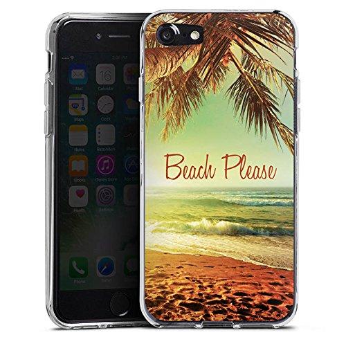 Apple iPhone 7 Hülle Tough Case Schutzhülle Beach Please Urlaub Strand Palmen Silikon Case transparent