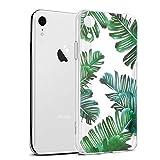 Eouine Coque iPhone XR, Etui en Silicone 3D Transparente avec Motif Peinture Design [Anti Choc] Housse de Protection Case Coque pour Téléphone Apple iPhone XR 2018-6,1 Pouces (Feuilles)