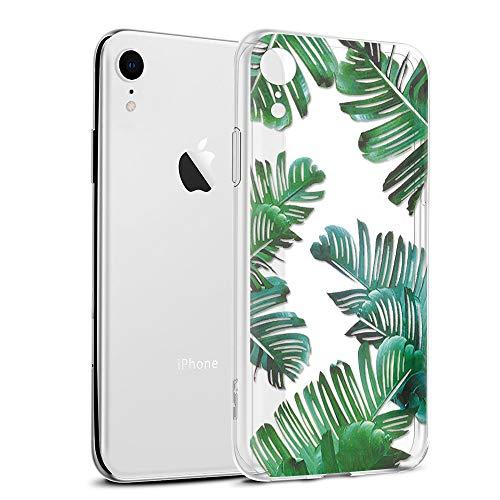 Eouine iPhone XR Hülle, Schutzhülle Silikon Transparent mit Muster Motiv Handyhülle [Ultra Dünn] Slim Stoßfest Weich TPU Bumper Case Backcover für iPhone XR 6,1 Zoll Smartphone (Blätter) -
