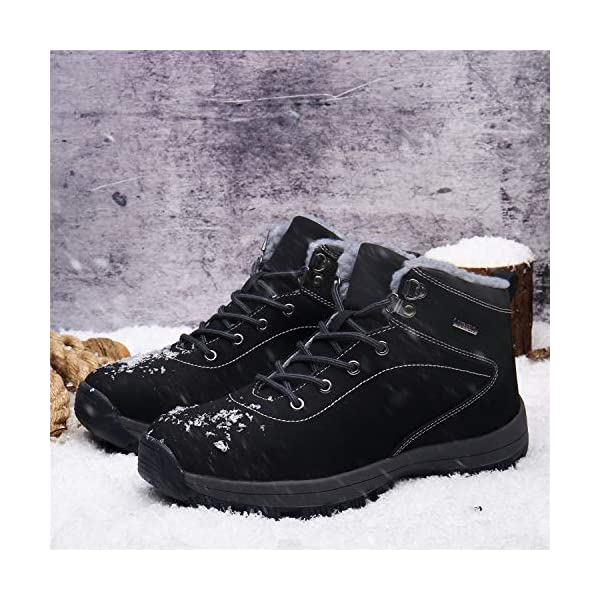 UBFEN Mens Womens Snow Boots Winter Warm Plush Booties Outdoor Sports Walking Hiking High Top Shoes 3