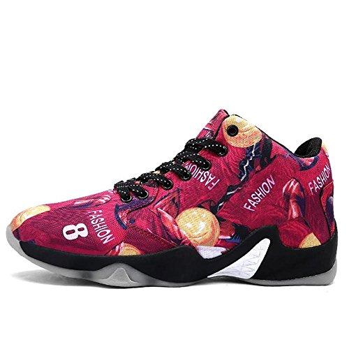 Basketballschuhe Herren Sportschuhe High Top Sneaker Herren Jungen Hohe Sneakers Atmungsaktiv Ausbildung Outdoor Freizeit Sport Turnschuhe , red , EU39/UK6