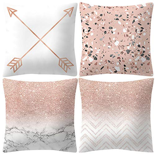 LIMITA Kissenbezug Rose Gold Pink Kissenbezug Quadratischer Kissenbezug Hauptdekorationen Sofakissenbezug