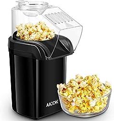 Popcornmaschine, Aicok 1200W Heißluft Popcorn Maker für Zuhause zum selber machen, Fett Fettfrei Ölfrei, Weites-Kaliber-Design mit Messbecher und abnehmbarem Deckel, BPA-Frei, schwarz.
