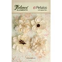 Petaloo-Elementi decorativi in tessuto, Fiori, 60 cm, colore: avorio