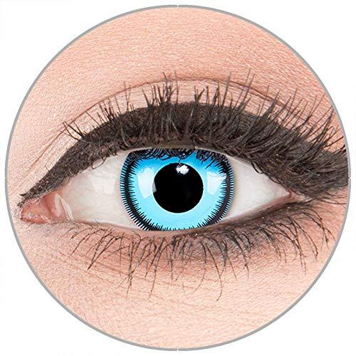 Farbige Kontaktlinsen zu Fasching Karneval Halloween in Topqualität von 'Glamlens' ohne Stärke 1 Paar Crazy Fun blaue 'Blue Lunatic' mit Behälter