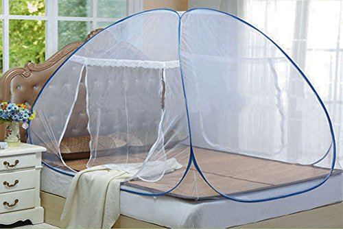 Evana Baby Safety 6.5 feet x 6.5 Feet Mosquito Net Double Kingsize Bed Folding with Soft Mesh and 2 Side Zipper Opening Doors (200x200cm)