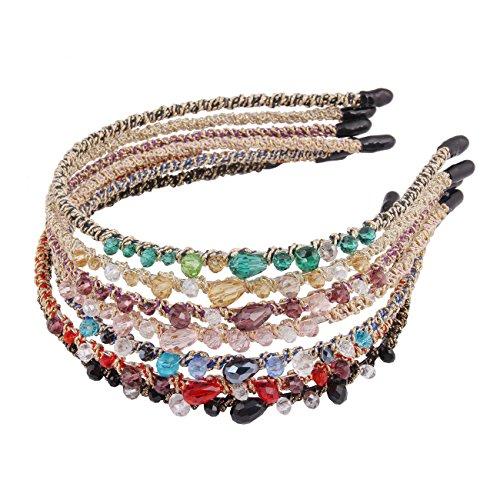 Candygirl 7 Pièces Décoration Bijoux Cristal Perle Paillettes Serre-tête Femme Fille Bandeaux Cheveux Accessoire pour Mariage Soirée
