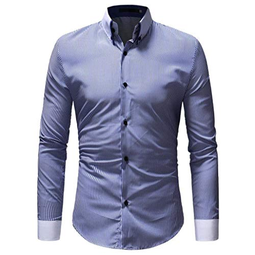Bolawoo tops uomo uomo camicia a autunno abbigliamento lunghe maniche abbigliamento invernale mode di marca top camicia a righe camicia elegante a righe camicetta business (color : blau, size : xl)