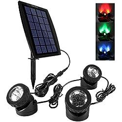Ankway Solar LED Focos impermeable IP68 El proyector accionado solar al aire libre 3 Focos (Rojo, Verde, Azul)