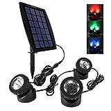 Ankway LED Teichbeleuchtung Solar Solarspots Unterwasserstrahler Wasserdicht IP68 Licht Sensor mit Drei Spots für Teich or Garten- Rot, Grün und Blau