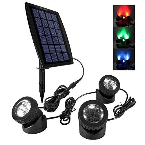 Ankway LED Teichbeleuchtung Solar Solarspots Unterwasserstrahler Wasserdicht IP68 Licht Sensor mit Drei Spots für Teich or Garten- Rot, Grün und Blau (Weihnachten Wasserfall Lichter)