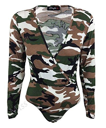 Fast Fashion - Body À Armée Leopart Chien Thoth Robe Imprimée V Cou - Femmes Armée