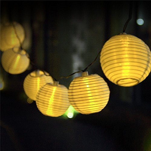 Uping® Solar Lichterkette 20er led Lampion Laterne für Party, Garten, Weihnachten, Halloween, Hochzeit, Beleuchtung Deko in Innen und Außenbereich usw. Wasserdicht 4,5M warm weiß [Energieklasse A+++] (Led-party-laterne)