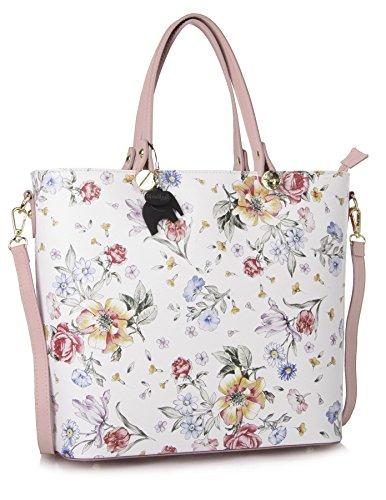 Big Handbag Shop , Cabas pour femme Floral White - Baby Pink Trim