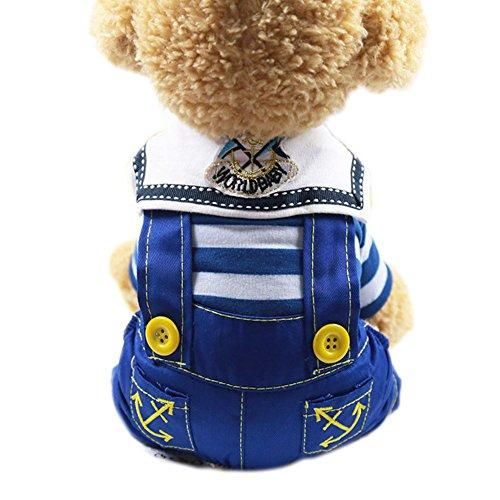 Wildlead Frühling Sommer Haustier Hunde Kleidung, Kleine Doggie Bekleidung Welpen Overall Stripe, blau, M -