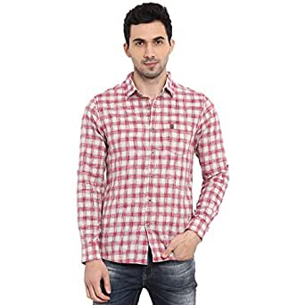Mufti Off White Red Checkered Full Sleeves Spread Collar Shirt