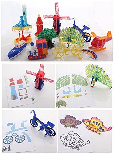 Plusinno® 3D Drucker Stift DIY Scribbler 3D Stereoscopic Printing Pen mit LCD-Bildschirm + 13 PLA Filament (10 verschiedene Farben) + 10 Papier Modelle für die Praxis der EU - 5