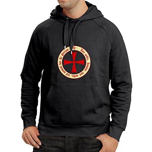 Assassin Kostüm Creed Amazon (Kapuzenpullover Tempelritter Templer Orden T-Shirt (Knights Templar) für Herren mit Tatzenkreuz Ordo Red (X-Large Schwarz)