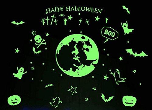 qiulv Glühend Schläger Halloween Mauer Aufkleber Geist Festival Skelett Kunst Abziehbilder Kürbis Kunst Wandgemälde Abnehmbar Wasserdicht Tür Fenster Zuhause Dekoration, 5 Set, 40 * 58 cm
