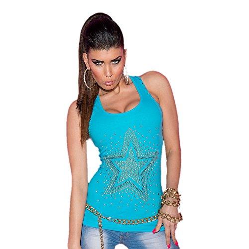 Koucla - Débardeur - Aucun motif - Col Ras Du Cou - Femme Bleu turquoise