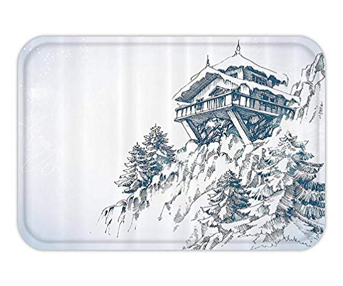 Doormat Asian Decor Collection Snowy Winter Landscape Painting with Mountain Hut Wooden Temple Pine Tree Forest Art Print Polyester Fabric Bathroom Long Blue White.jpg Print Woven-hut