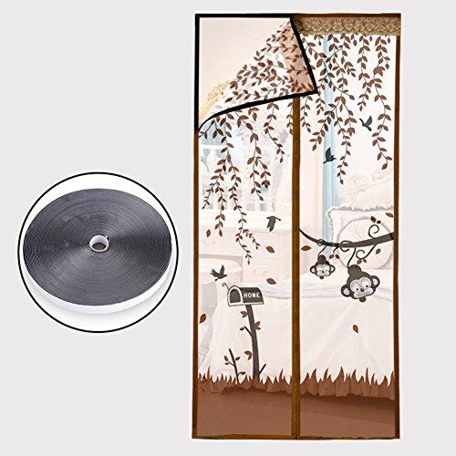 Silk road velcro anti-zanzara calamita per porte, tende porta crittografato magnetico zanzariera anti-zanzara estate home camera da letto doppia porta sullo schermo-marronec 130x200cm(51x79inch)