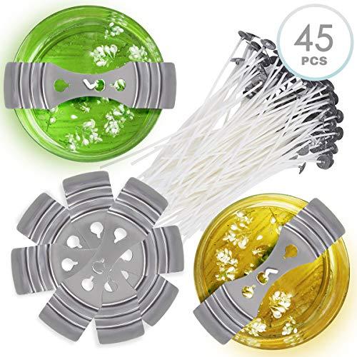 45 pezzi kit di fabbricazione di candele fai-da-te, 30 stoppini pre-cerati e 15 supporti per stoppini, sostenitori - pratico e facile da usare| diy candle making.