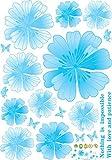 GOUZI Die warmen und romantischen Wandschrank Glas Kühlschrank Klimaanlage ist ein 3-D-Simulation der 3-dimensionalen Blumen, nicht Ecstasy blau, Große, herausnehmbare Wand Aufkleber für Schlafzimmer Wohnzimmer Hintergrund Wand Bad Studie Friseur