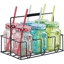 Set de 6 Jarras de Beber de Color con Pajitas Reusables, Tapas y Asas VonShef