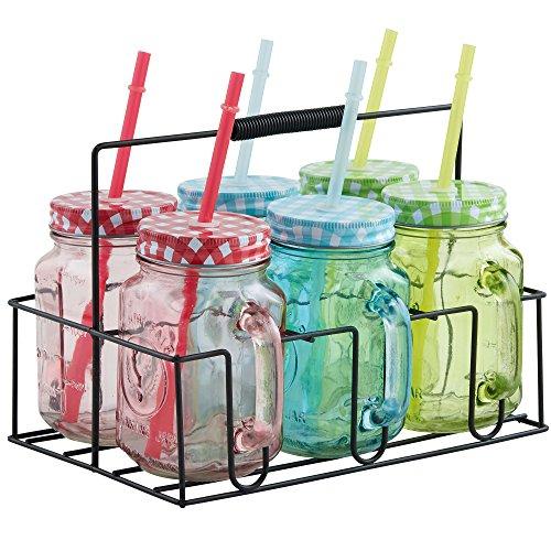 VonShef Set mit 6 farbigen Mason Trinkgläsern und & Träger mit wiederverwendbaren Strohhalmen, Deckeln und Griffen