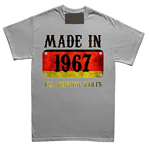 Renowned Made in Germany in 1967 all original parts German Flag Inside Herren T Shirt Grau