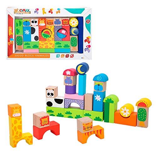 WOOMAX- Juegos Bloques Animales madera-32 Piezas ColorBaby