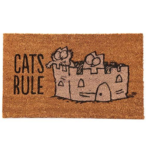 Puckator Simon\'s Katzenmatte-Cats Rule, aus Kokosfaser, Braun, 75 x 2 x 45 cm