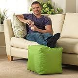 Bean Bag Bazaar Cube - Lime Green, 38cm x 38cm - Indoor Outdoor, Water Resistant Footstool Pouffe