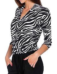 Logobeing Blusas Mujer Elegantes Sexy Camiseta Casual con Cuello En V y Manga Tres Cuartos Superpuesta con Estampado de Leopardo