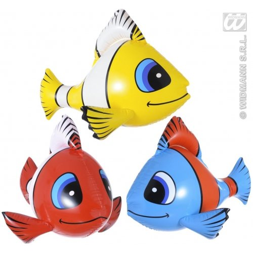 WIDMANN Aufblasbare tropische Fische, 60 cm, 3 Farben, Requisiten & Thema, aufblasbar, Party-Dekoration für - Surtido Kostüm