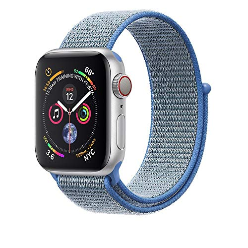 Corki pour Bracelet Apple Watch 42mm 44mm, Nylon Bracelet de Remplacement Bande pour Apple Watch iWatch Séries 4 (44mm), Séries 3/ Séries 2/ Séries 1 (42mm), Bleu Tahoe