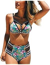 Vandot Bikini Frau Badeanzug hohe Taille zwei Stück Badeanzug mit v-neck Retro Flower Stripes Print Bikini Push oben Quilted Bra Badeanzug Bademode Strand Größe s-l