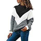SANFASHION Pull Femme Grande Taille, Soldes Sweat,Tops Haut Sport Casual Manche Longue Patchwork Rayure Chic Blouse Pullover Mode (S, Noir Chandail)
