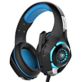 KOBWA Gaming Headset 3,5 mm Stereo Over-Ear Gaming Kopfhörer Stirnband USB/Klinken-Stecker Mikrofon LED Effekt mit Noise Isolation Volume Control für PS4 Xbox PC Tablet Laptop