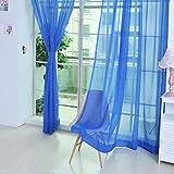 ILOVEDIY Transparente einfarbige Gardine aus Voile, viele attraktive Farben,2 PCS-reine Farbe Tulle Türfenstervorhang drapieren Panel-Sheer-Schal Volants 200x100, Blau