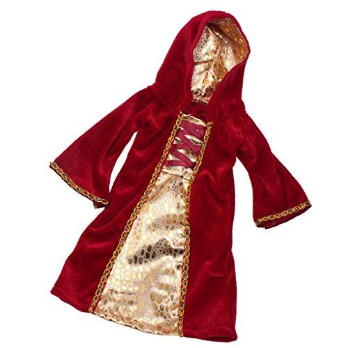 Gazechimp Rot Hexe Kleidung Puppenkleid mit Kapuze - Puppenbekleidung für 18