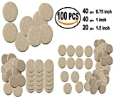 #9: Nourish 100 Pcs Self Sticking Round Felt Pads Non Skid Floor Protector Furniture Pad Noise Insulation Pad
