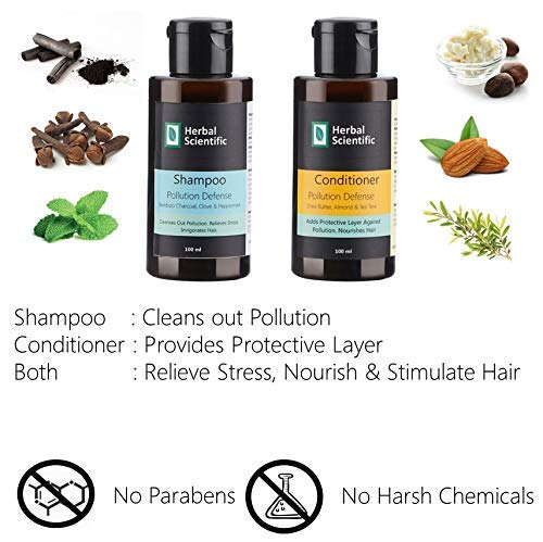 Herbal Scientific Pollution Defense, Stress Relief & Hair Growth Tester Kit : Bamboo Charcoal, Clove & Peppermint Shampoo 100ml + Shea Butter, Almond & Tea Tree Conditioner 100ml