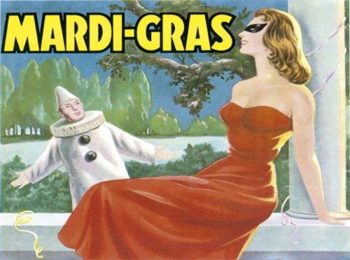 2110 EXTRA GRANDE - MARDI GRAS EN METAL DE ESTILO VINTAGE PUBLICIDAD SIGNO DE PARED RETRO ART