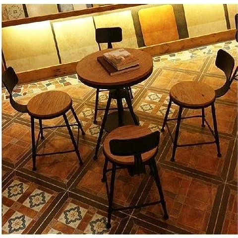 Vintage mesa de café de madera maciza de hierro forjado mesas y sillas de café Suite balcón con mesas y sillas, un bar al aire libre combinación casual de una mesa y una silla, una mesa y dos sillas